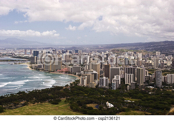 Downtown Waikiki as seen from atop Diamond Head Crater - csp2136121