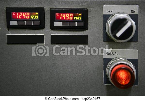 dozor, knoflík, průmyslový, zařízení, deska - csp2349467