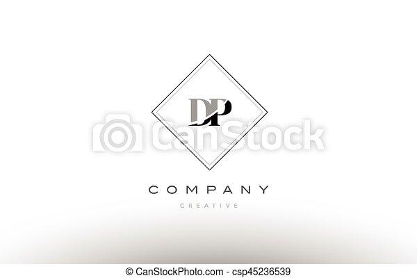 Dp D P Retro Vintage Black White Alphabet Letter Logo Dp D P