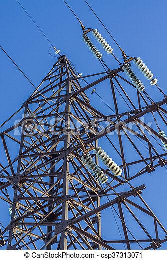 Drähte, elektrisch, isolator. Blauer hintergrund, himmelsgewölbe ...