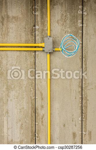 Drähte, Installation, Elektrisch, Elektrizität, Haus, Leitungsrohre,  Stelle., Baugewerbe