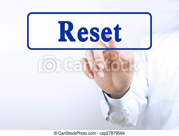 Drücken Sie den Knopf zurücksetzen - csp27879594