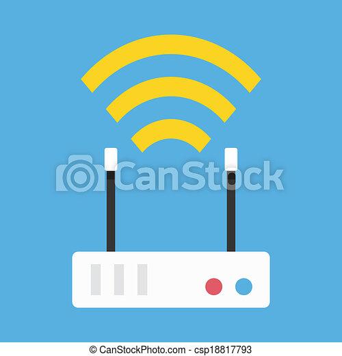 draadloos, router, vector, netwerk, pictogram - csp18817793