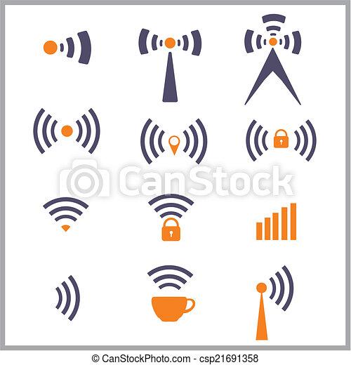 draadloos, symbool, netwerk - csp21691358