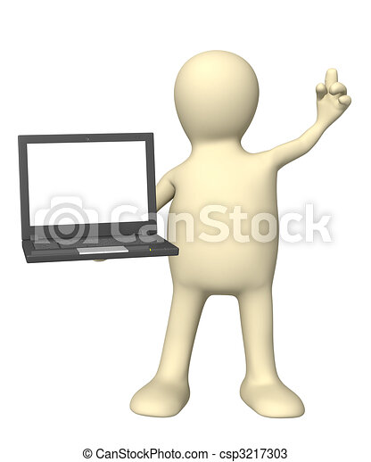 draagbare computer, 3d, marionet, hand - csp3217303