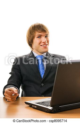 draagbare computer, man, jonge, zakelijk, vrolijke  - csp8095714
