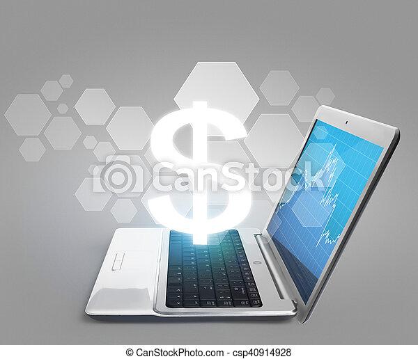 draagbare computer, scherm, leeg - csp40914928