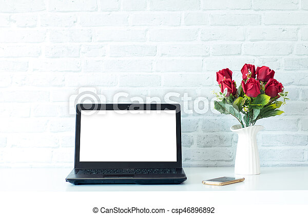 draagbare computer, scherm, leeg - csp46896892