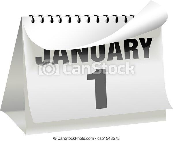 draaien, jaren, 1, januari, nieuw, krul, kalender, dag, pagina - csp1543575
