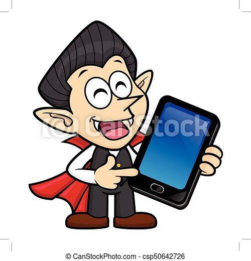dracula character is holding a smartphone halloween day vector rh canstockphoto ca dracula clipart free dracula clipart black and white
