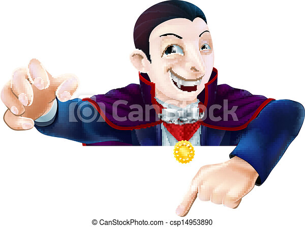 dracula, halloween, cartone animato, indicare - csp14953890