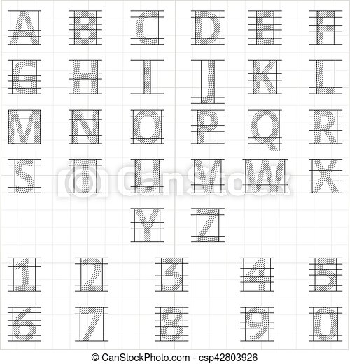 Drafting paper alphabet  Vector drawing sketch letters