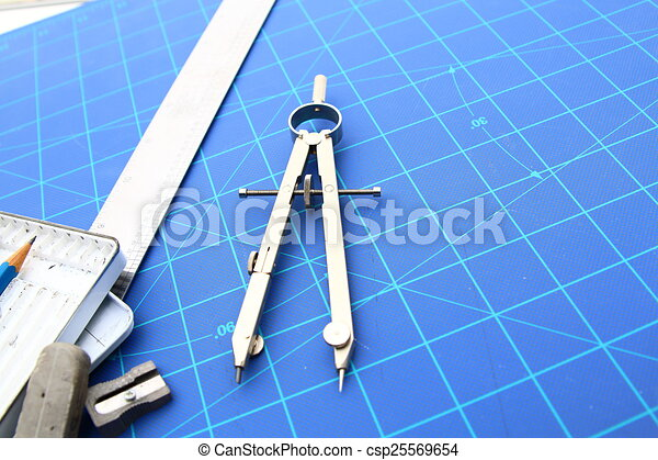 Drafting tools and blueprint . pencil etc. background.