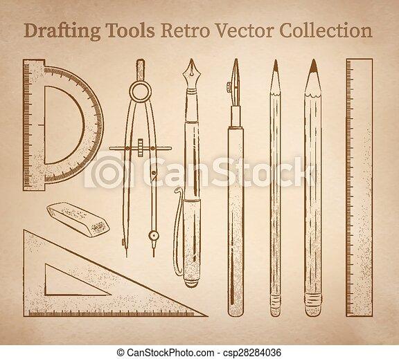 Drafting tools. Drafting tools hand drawn vector set on vintage old ...