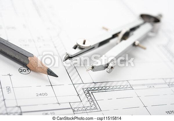 Drafting tools and blueprint . pencil etc.