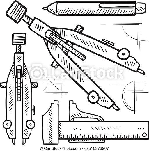 Drafting tools sketch - csp10373907