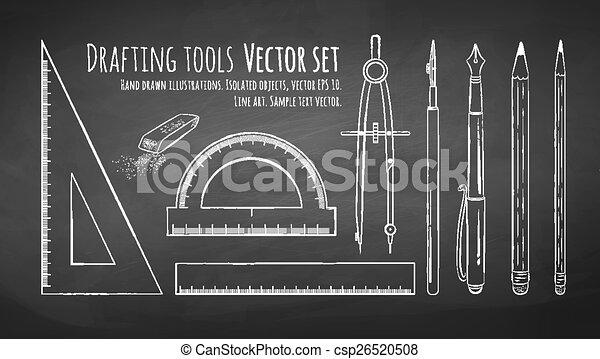 Drafting tools. Chalkboard drawing of drafting tools. vector set ...
