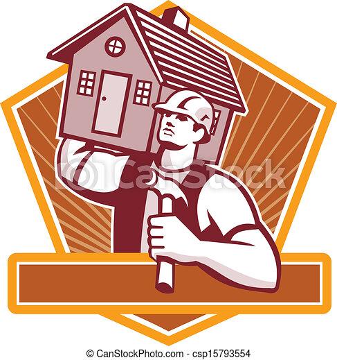 dragen, woning, aannemer, timmerman, retro - csp15793554