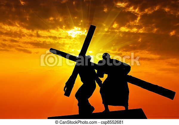 Dragging a wooden cross - csp8552681