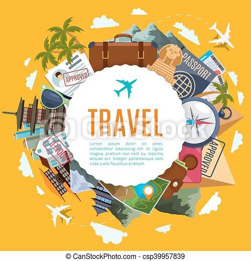 dragningar, res turism, etikett - csp39957839