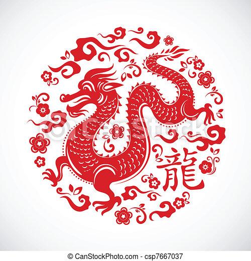 drago, nuovo, cinese, anno - csp7667037