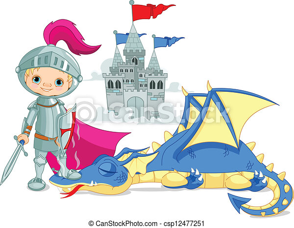 Dragon and Knight - csp12477251