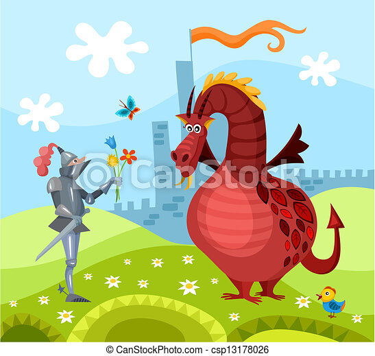 dragon and knight - csp13178026