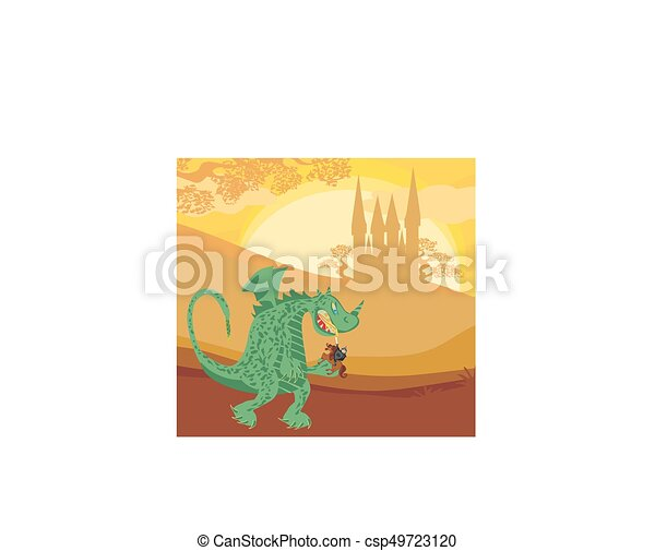dragon and knight - csp49723120