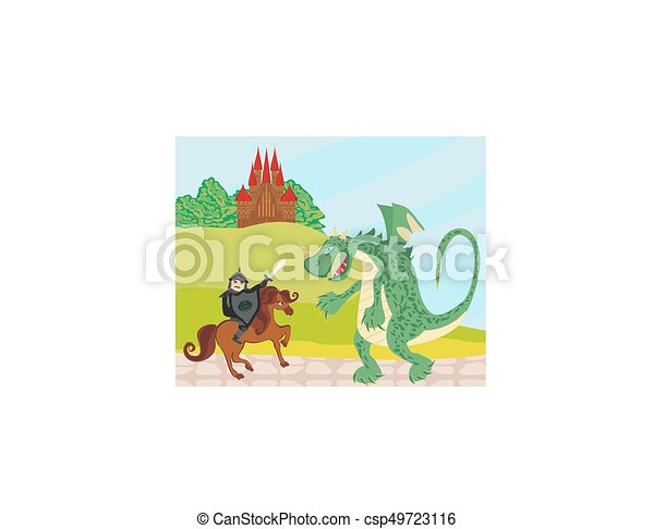 dragon and knight - csp49723116