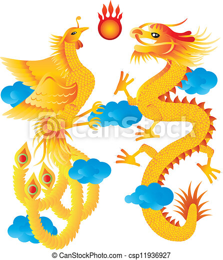 Dragon And Phoenix With Clouds Illustration Dragon And Phoenix