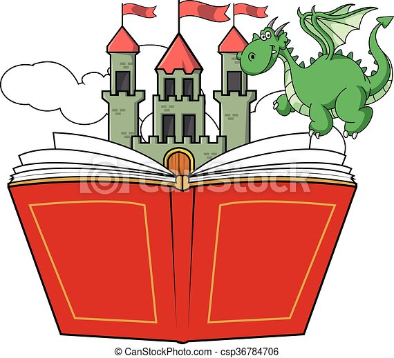 dragon book story and castle illustration vector clipart search rh canstockphoto com bible story clipart book storybook clip art free