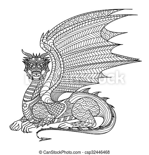 Dragon Coloring Page. Dragon Line Art Design For Coloring Book For Adult,  Tattoo, T Shirt Design And So On. CanStock