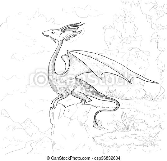 Dragon Coloring Page Contour For Book Adult