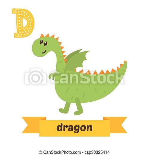 dragon d letter cute children animal alphabet in vector funny