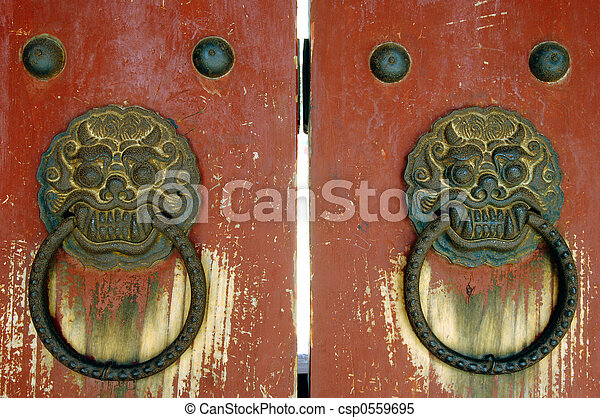 Dragon Doors - csp0559695 & Dragon doors. 2 dragon head door handles from an old asian temple ...