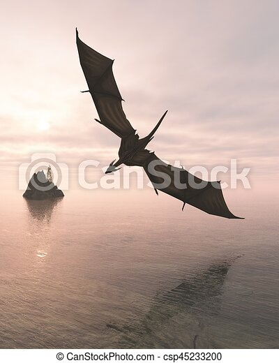 Dragon Flying Low Over the Sea at Evening - csp45233200