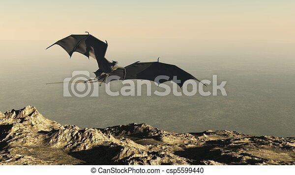 Dragon Flying over a Mountain Cliff - csp5599440