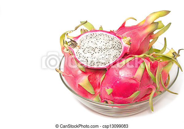 Dragon fruit in glass bowl on white background - csp13099083