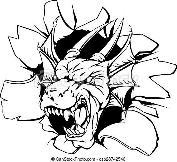 Dragon head coming through wall - csp28742546