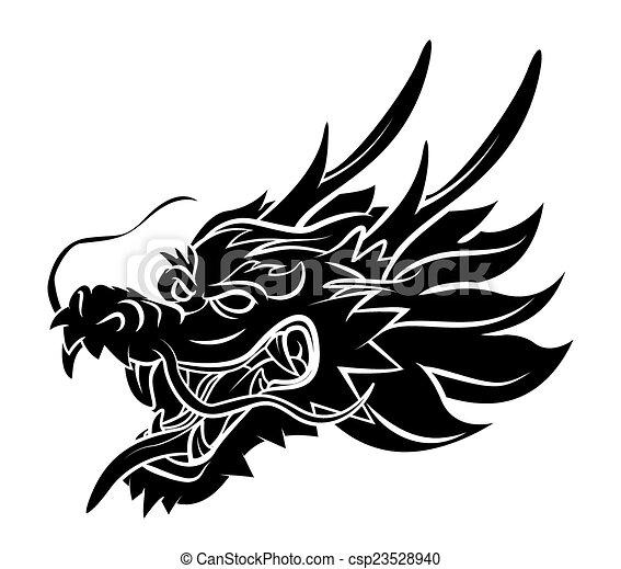 dragon head rh canstockphoto com dragon head silhouette clip art Dragon Clip Art Black and White