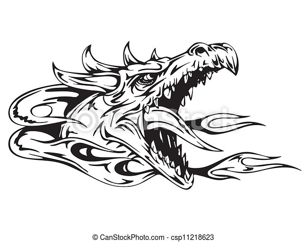 Dragon stock photos and images 71471 dragon pictures and royalty dragon head black and white vector illustration ccuart Choice Image