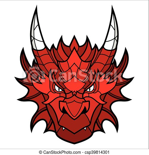 dragon head mascot this is isolated vector illustration ideal for a rh canstockphoto com dragon head silhouette clip art Dragon Clip Art Black and White