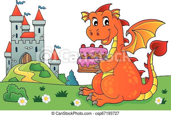 Dragon holding cake theme image 5 - csp67193727