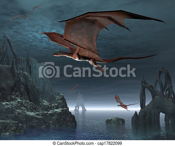 dragon islands red dragons flying over strange islands in a calm