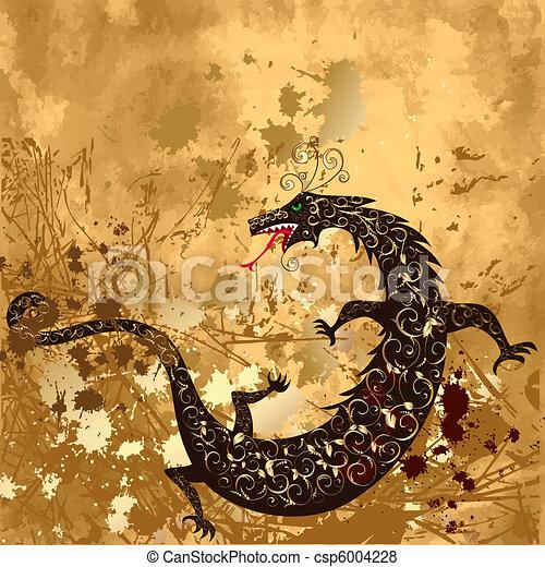 dragon on a background grunge - csp6004228