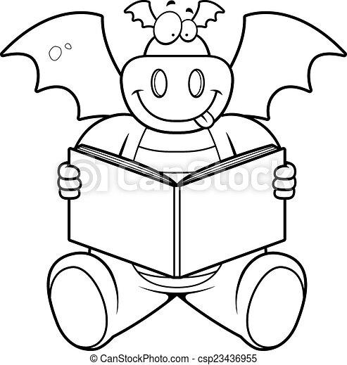 a happy cartoon dragon reading a book clipart vector search rh canstockphoto com Girl Reading Clip Art Fire-Breathing Dragon Clip Art