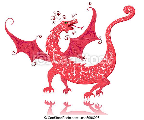 dragon red vintage - csp5996226