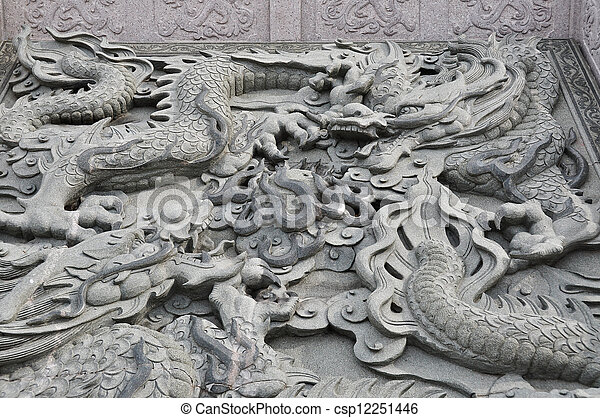 Dragon statue in chinese temple - csp12251446