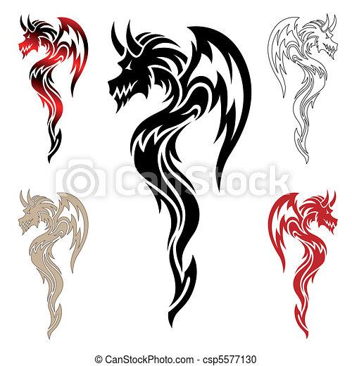 Dragon Tatouage Tribal Vecteur Ensemble Chinois Dragons