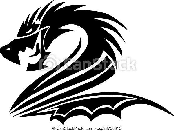 Dragon tattoo design, vintage engraving. - csp33756615
